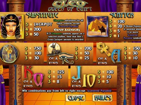 Play Cleo Queen of Egypt - Slot Game -Info