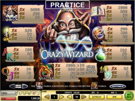 Play Crazy Wizard - Slot Game -Info