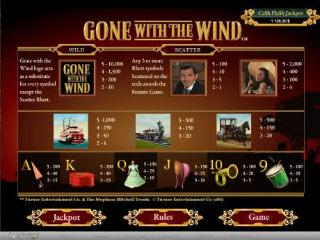 Play Gone With The Wind - Slot Game -Info