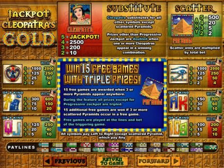 Play Jackpot Cleopatra's Gold - Slot Game -Info